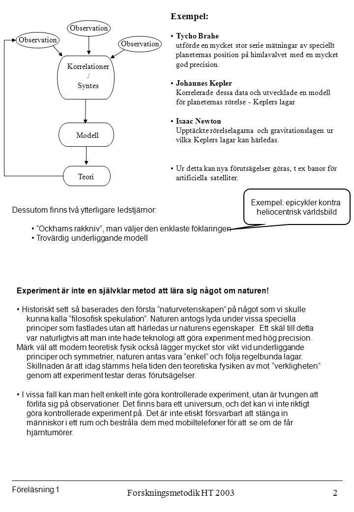 Föreläsning 1 Forskningsmetodik HT 20032 Korrelationer / Syntes Observation Modell Teori Exempel: Tycho Brahe utförde en mycket stor serie mätningar a