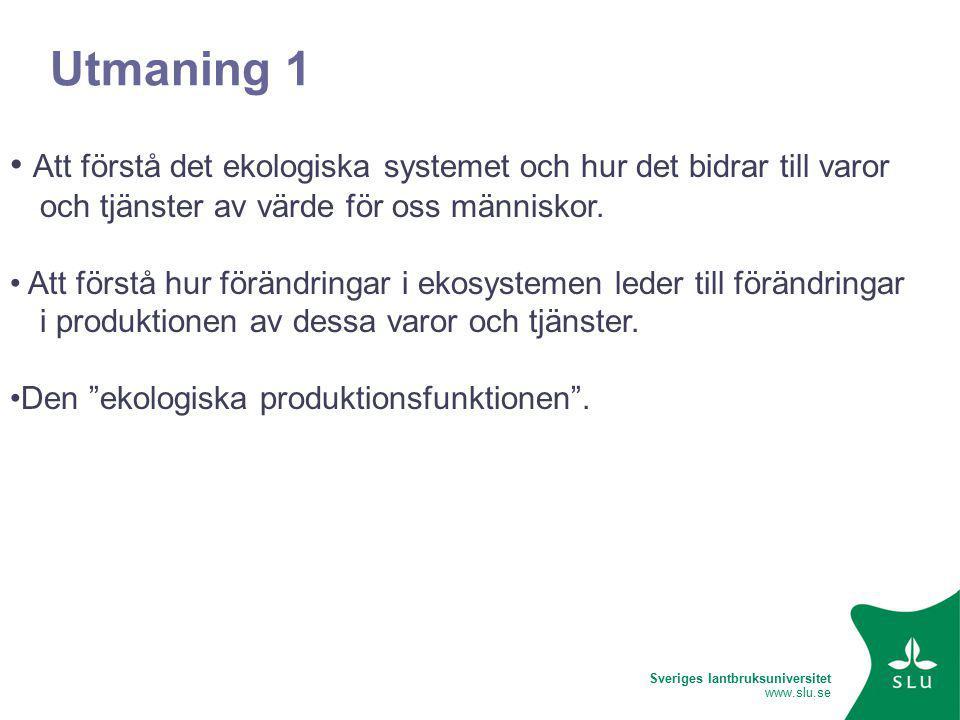 Sveriges lantbruksuniversitet www.slu.se Utmaning 1 Att förstå det ekologiska systemet och hur det bidrar till varor och tjänster av värde för oss människor.