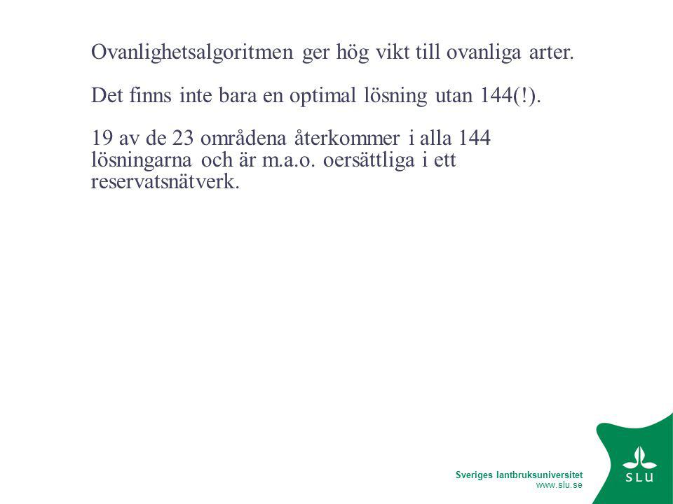 Sveriges lantbruksuniversitet www.slu.se Ovanlighetsalgoritmen ger hög vikt till ovanliga arter.