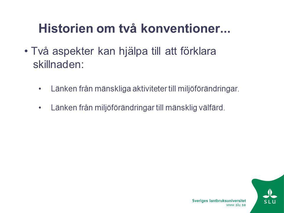 Sveriges lantbruksuniversitet www.slu.se Historien om två konventioner...
