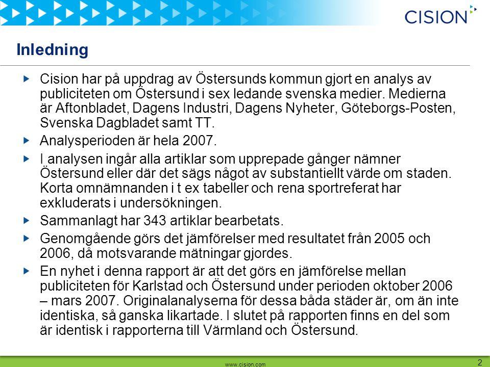 www.cision.com 2 Inledning Cision har på uppdrag av Östersunds kommun gjort en analys av publiciteten om Östersund i sex ledande svenska medier. Medie