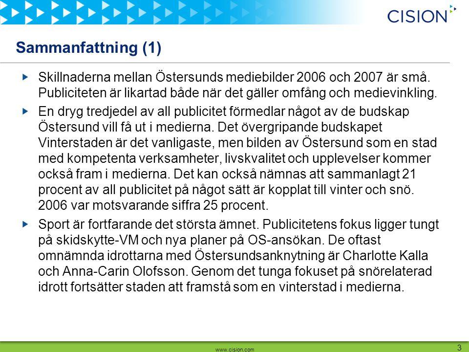 www.cision.com 3 Sammanfattning (1) Skillnaderna mellan Östersunds mediebilder 2006 och 2007 är små. Publiciteten är likartad både när det gäller omfå