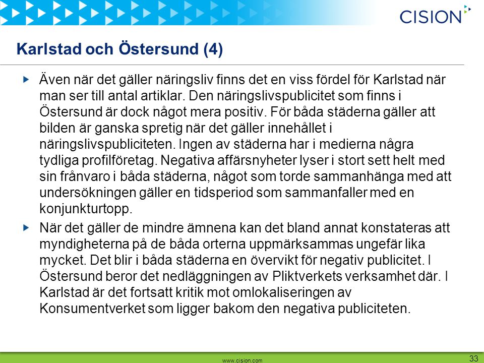 www.cision.com 33 Karlstad och Östersund (4) Även när det gäller näringsliv finns det en viss fördel för Karlstad när man ser till antal artiklar. Den