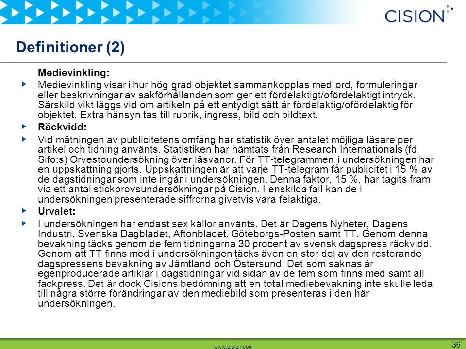 www.cision.com 36 Definitioner (2) Medievinkling: Medievinkling visar i hur hög grad objektet sammankopplas med ord, formuleringar eller beskrivningar