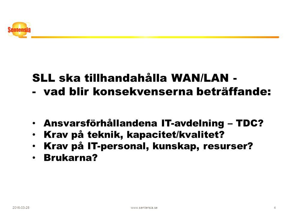 2015-03-28www.sentensia.se4 SLL ska tillhandahålla WAN/LAN - -vad blir konsekvenserna beträffande: Ansvarsförhållandena IT-avdelning – TDC.