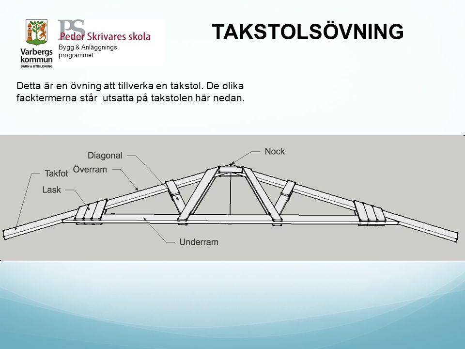 Bygg & Anläggnings programmet TAKSTOLSÖVNING Detta är en övning att tillverka en takstol. De olika facktermerna står utsatta på takstolen här nedan.