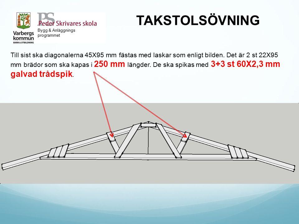 Bygg & Anläggnings programmet TAKSTOLSÖVNING Till sist ska diagonalerna 45X95 mm fästas med laskar som enligt bilden. Det är 2 st 22X95 mm brädor som