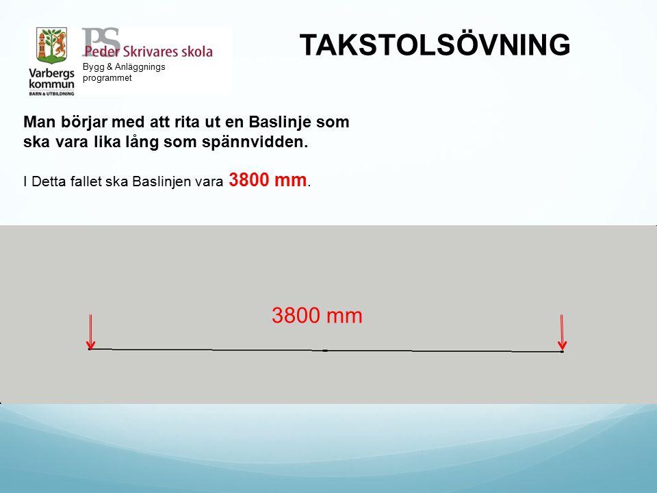 Bygg & Anläggnings programmet TAKSTOLSÖVNING Man börjar med att rita ut en Baslinje som ska vara lika lång som spännvidden. I Detta fallet ska Baslinj