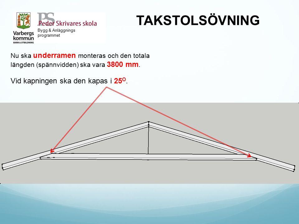 Bygg & Anläggnings programmet TAKSTOLSÖVNING Nu ska underramen monteras och den totala längden (spännvidden) ska vara 3800 mm. Vid kapningen ska den k