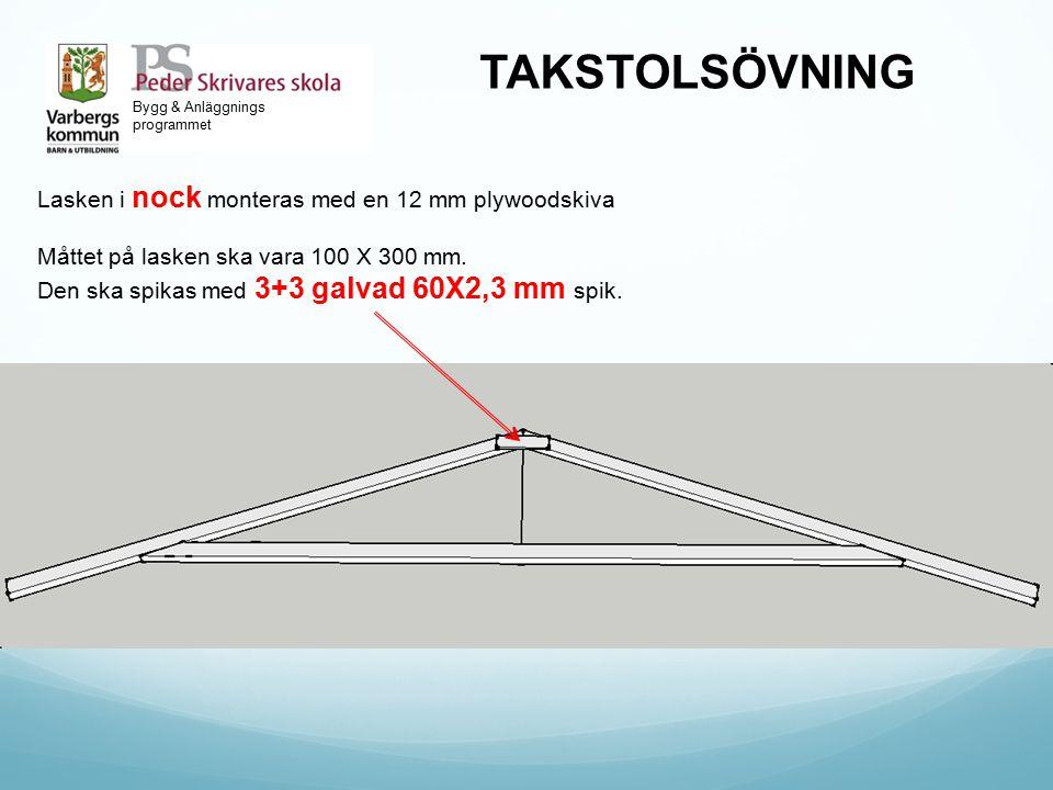 Bygg & Anläggnings programmet TAKSTOLSÖVNING Lasken i nock monteras med en 12 mm plywoodskiva Måttet på lasken ska vara 100 X 300 mm. Den ska spikas m