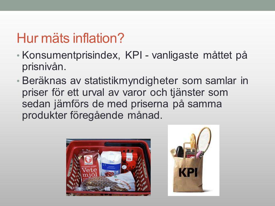 Hur mäts inflation? Konsumentprisindex, KPI - vanligaste måttet på prisnivån. Beräknas av statistikmyndigheter som samlar in priser för ett urval av v