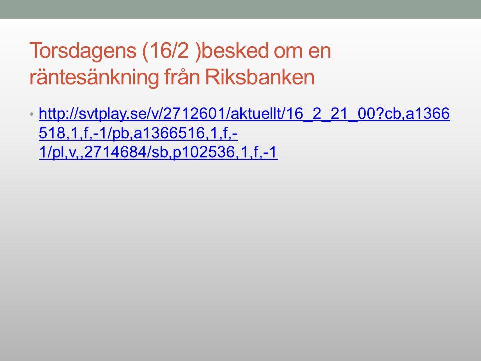 Torsdagens (16/2 )besked om en räntesänkning från Riksbanken http://svtplay.se/v/2712601/aktuellt/16_2_21_00?cb,a1366 518,1,f,-1/pb,a1366516,1,f,- 1/p