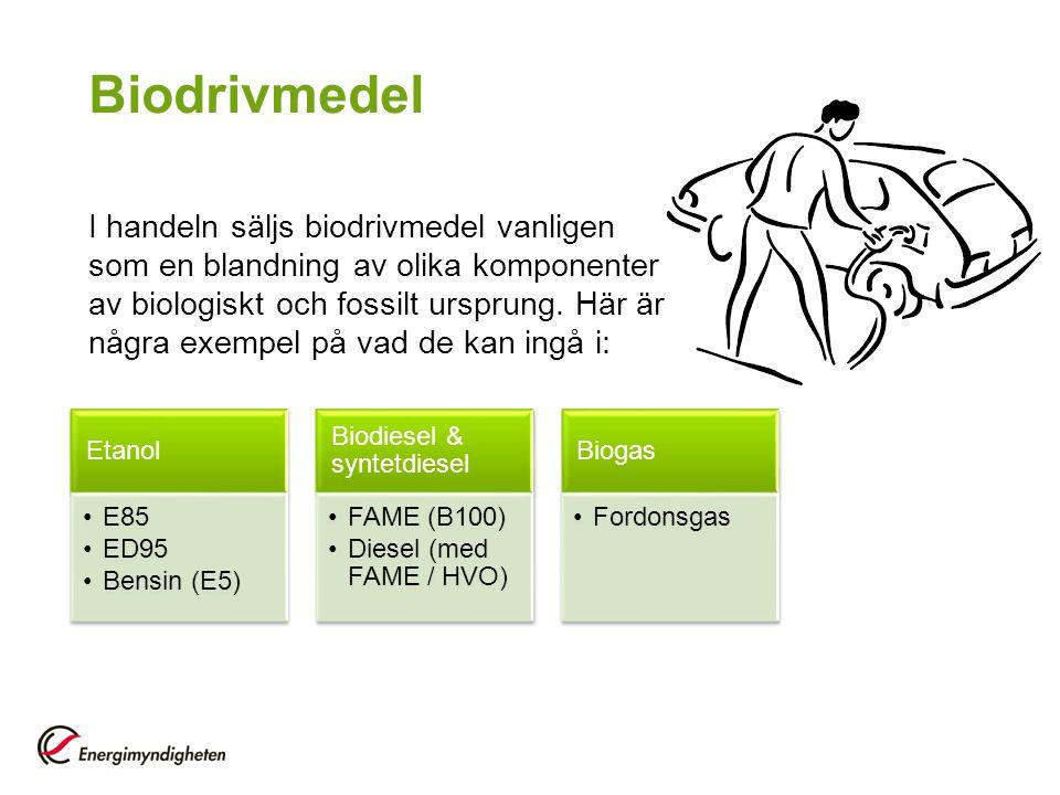 Biodrivmedel I handeln säljs biodrivmedel vanligen som en blandning av olika komponenter av biologiskt och fossilt ursprung. Här är några exempel på v