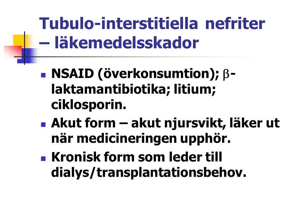 Tubulo-interstitiella nefriter – läkemedelsskador NSAID (överkonsumtion);  - laktamantibiotika; litium; ciklosporin. Akut form – akut njursvikt, läke