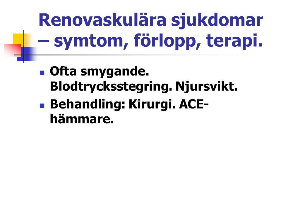 Renovaskulära sjukdomar – symtom, förlopp, terapi. Ofta smygande. Blodtrycksstegring. Njursvikt. Behandling: Kirurgi. ACE- hämmare.