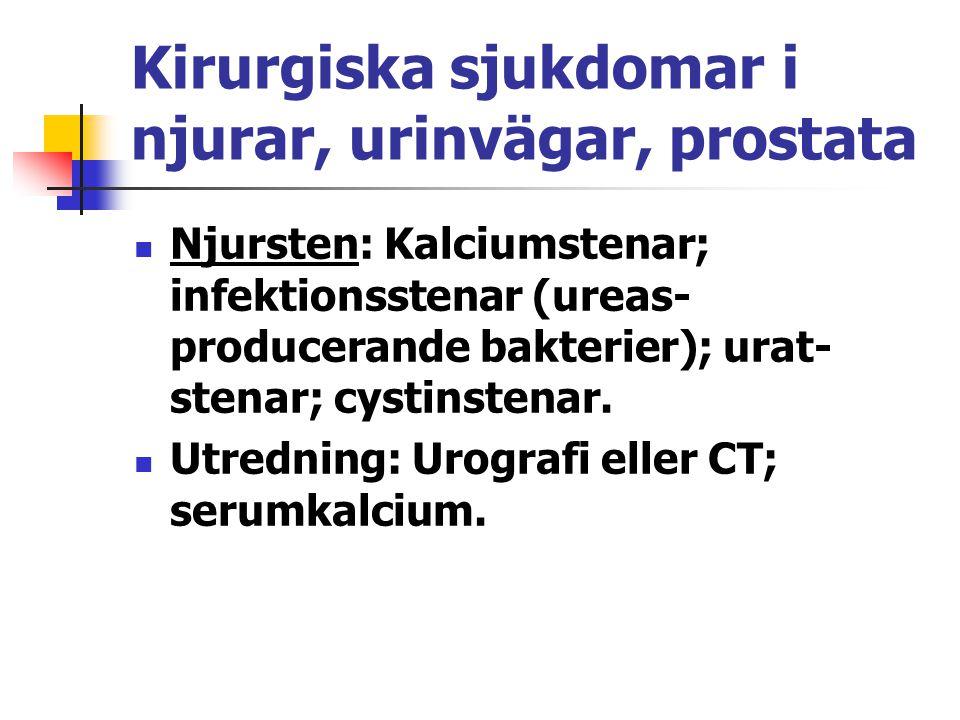 Kirurgiska sjukdomar i njurar, urinvägar, prostata Njursten: Kalciumstenar; infektionsstenar (ureas- producerande bakterier); urat- stenar; cystinsten