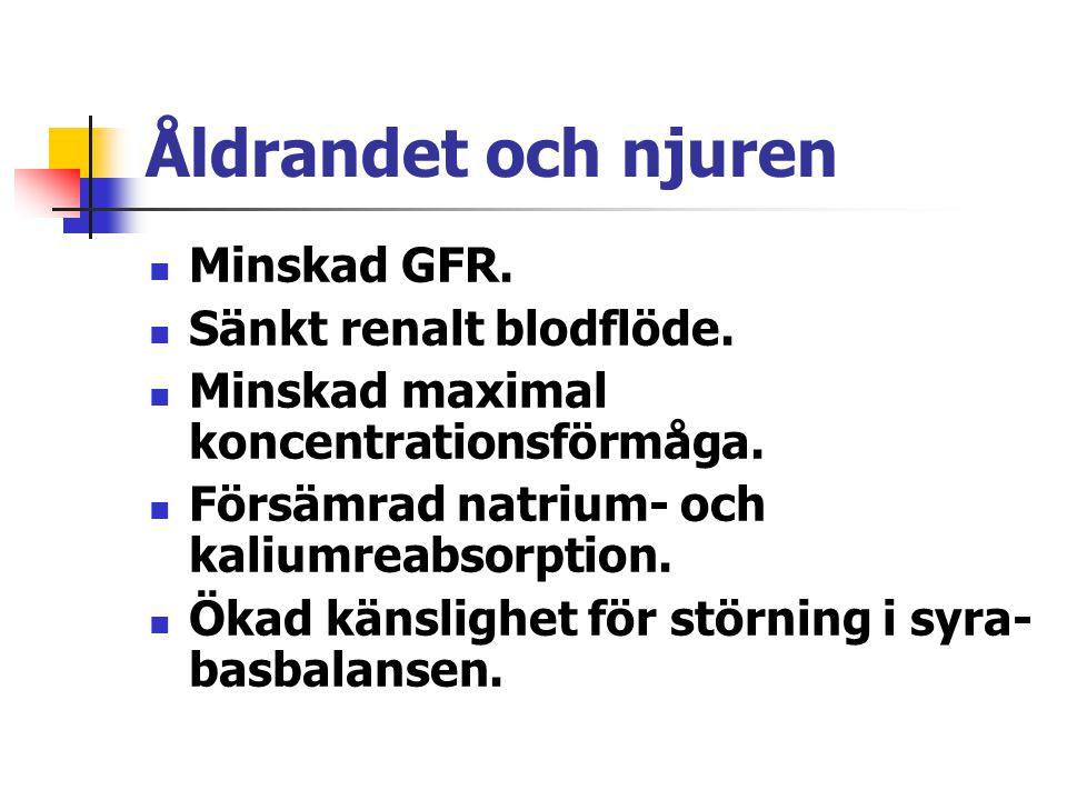 Åldrandet och njuren Minskad GFR. Sänkt renalt blodflöde. Minskad maximal koncentrationsförmåga. Försämrad natrium- och kaliumreabsorption. Ökad känsl