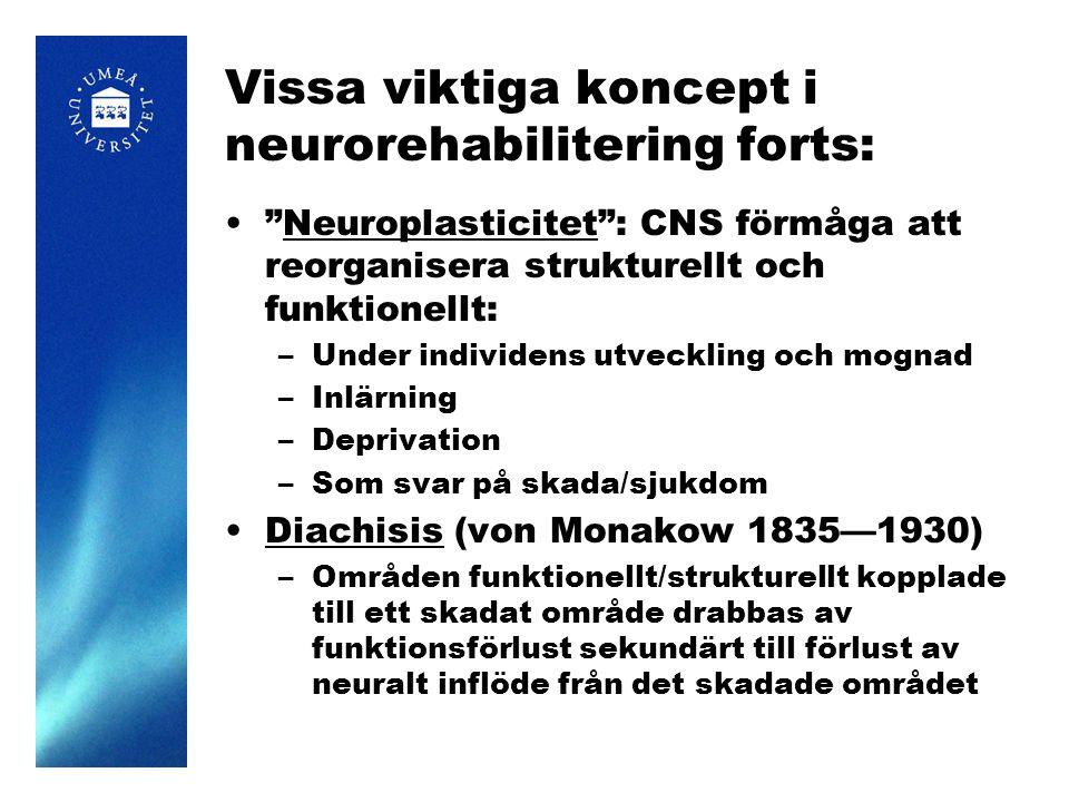"""Vissa viktiga koncept i neurorehabilitering forts: """"Neuroplasticitet"""": CNS förmåga att reorganisera strukturellt och funktionellt: –Under individens u"""