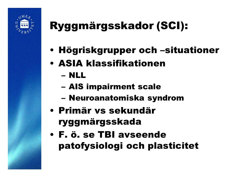 Ryggmärgsskador (SCI): Högriskgrupper och –situationer ASIA klassifikationen –NLL –AIS impairment scale –Neuroanatomiska syndrom Primär vs sekundär ry