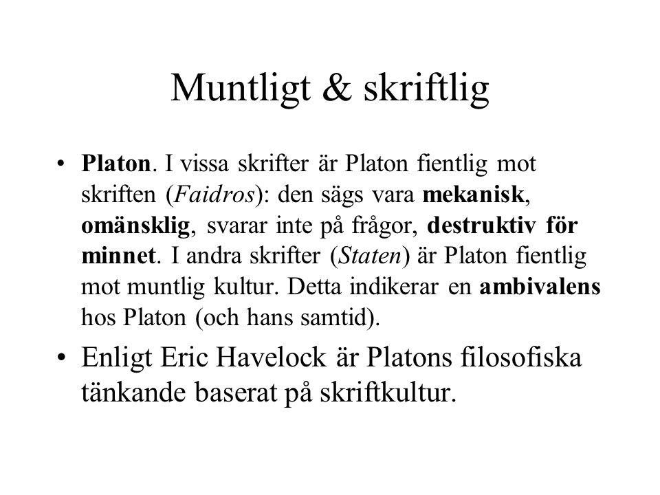 Muntligt & skriftlig Platon.