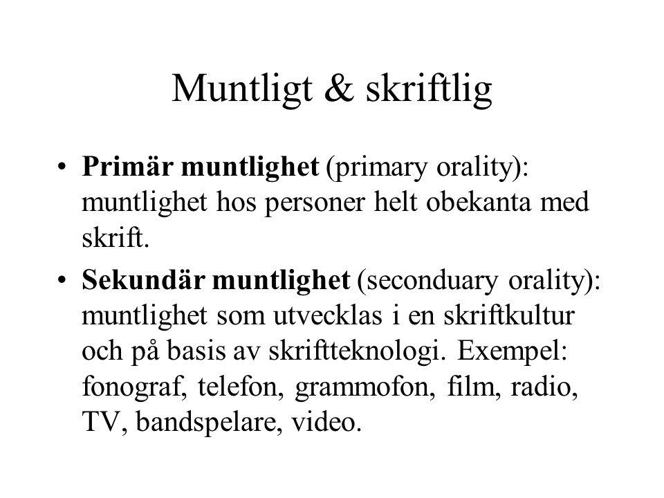 Muntligt & skriftlig Primär muntlighet (primary orality): muntlighet hos personer helt obekanta med skrift.