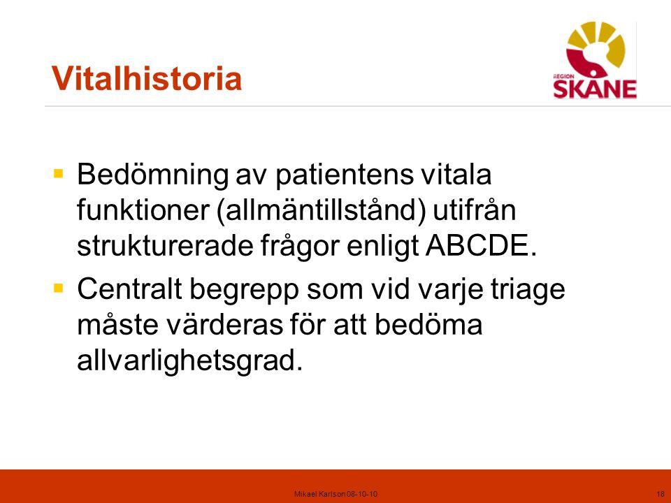 Mikael Karlson 08-10-1018 Vitalhistoria  Bedömning av patientens vitala funktioner (allmäntillstånd) utifrån strukturerade frågor enligt ABCDE.