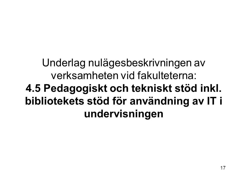 17 Underlag nulägesbeskrivningen av verksamheten vid fakulteterna: 4.5 Pedagogiskt och tekniskt stöd inkl.