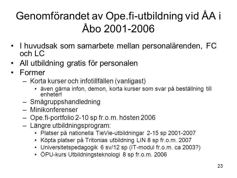 23 Genomförandet av Ope.fi-utbildning vid ÅA i Åbo 2001-2006 I huvudsak som samarbete mellan personalärenden, FC och LC All utbildning gratis för personalen Former –Korta kurser och infotillfällen (vanligast) även gärna infon, demon, korta kurser som svar på beställning till enheter.