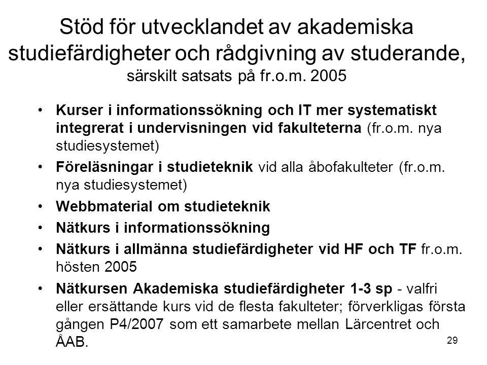 29 Stöd för utvecklandet av akademiska studiefärdigheter och rådgivning av studerande, särskilt satsats på fr.o.m. 2005 Kurser i informationssökning o