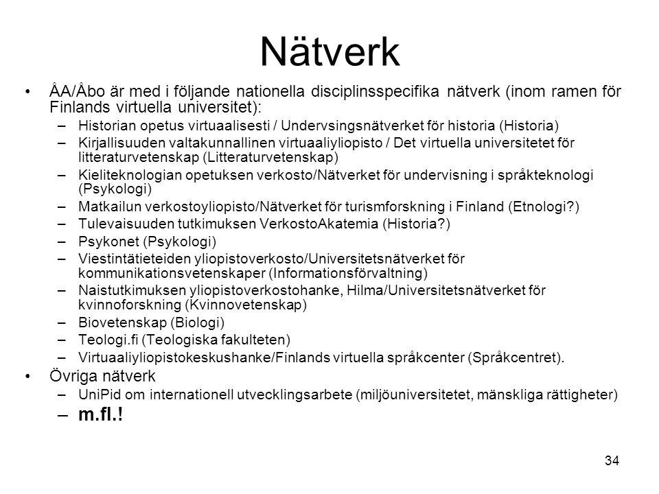 34 Nätverk ÅA/Åbo är med i följande nationella disciplinsspecifika nätverk (inom ramen för Finlands virtuella universitet): –Historian opetus virtuaal