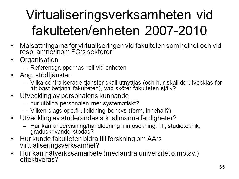 35 Virtualiseringsverksamheten vid fakulteten/enheten 2007-2010 Målsättningarna för virtualiseringen vid fakulteten som helhet och vid resp. ämne/inom