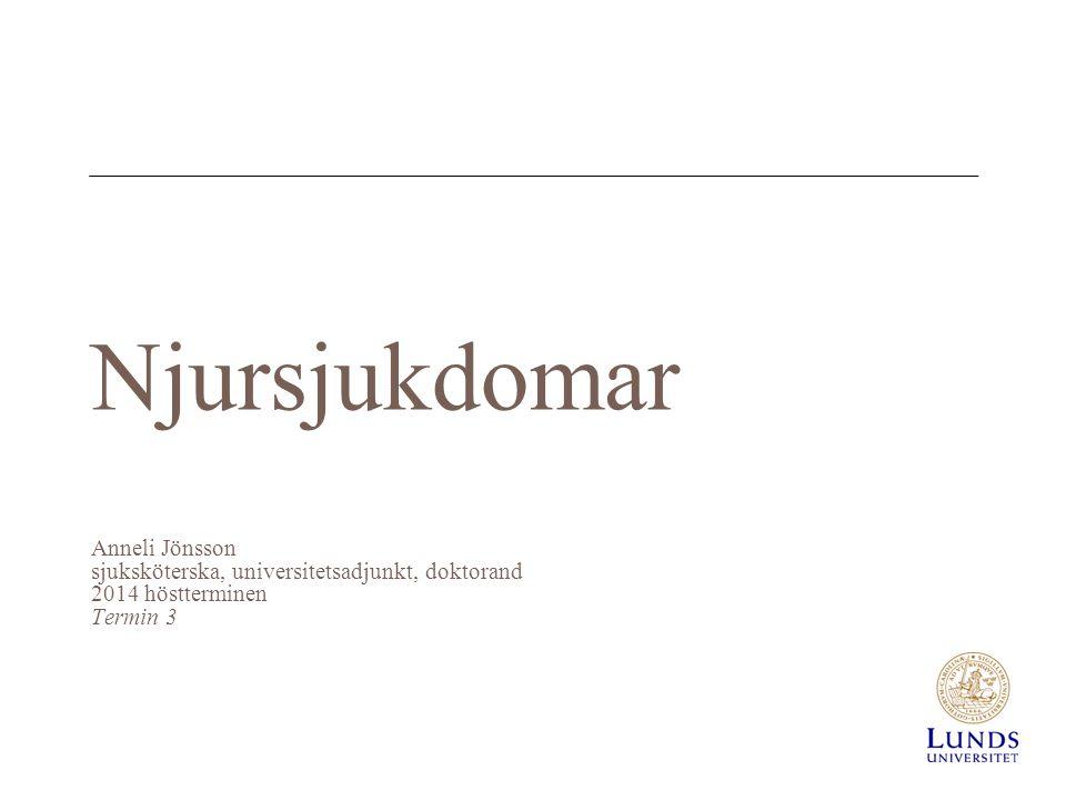 Njursjukdomar Anneli Jönsson sjuksköterska, universitetsadjunkt, doktorand 2014 höstterminen Termin 3