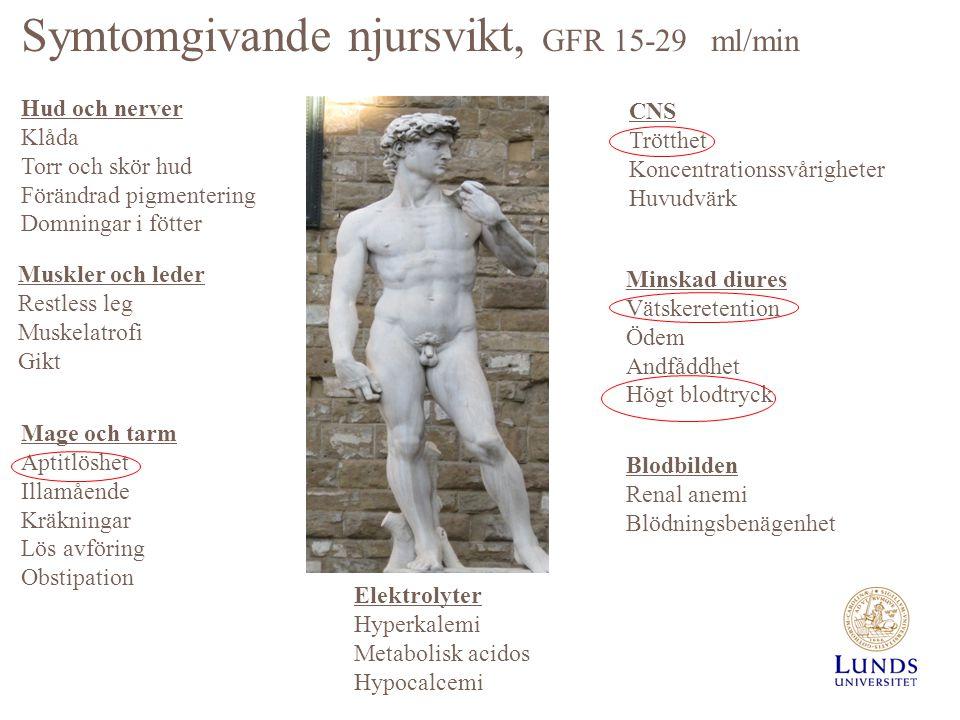 Symtomgivande njursvikt, GFR 15-29 ml/min Hud och nerver Klåda Torr och skör hud Förändrad pigmentering Domningar i fötter Muskler och leder Restless