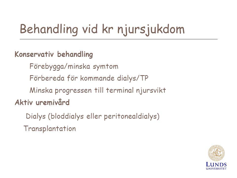 Behandling vid kr njursjukdom Konservativ behandling Förebygga/minska symtom Förbereda för kommande dialys/TP Minska progressen till terminal njursvik