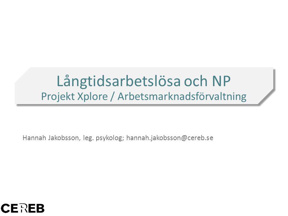 Hannah Jakobsson, leg. psykolog; hannah.jakobsson@cereb.se Långtidsarbetslösa och NP Projekt Xplore / Arbetsmarknadsförvaltning