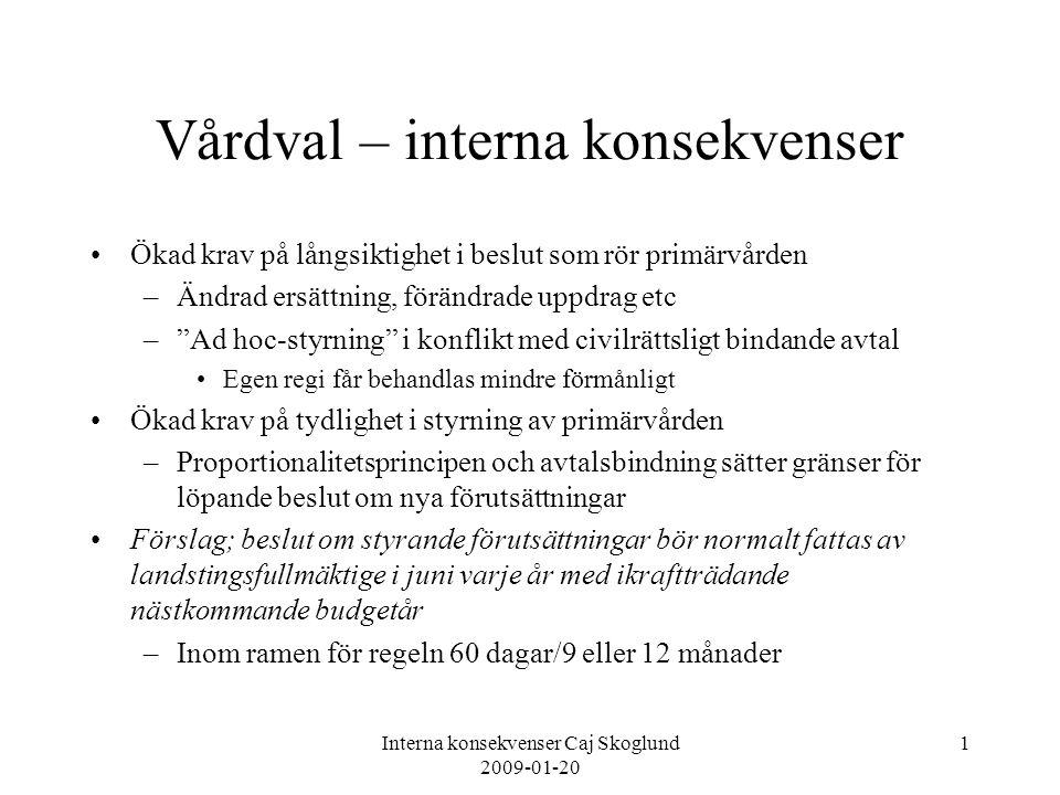 Interna konsekvenser Caj Skoglund 2009-01-20 1 Vårdval – interna konsekvenser Ökad krav på långsiktighet i beslut som rör primärvården –Ändrad ersättn