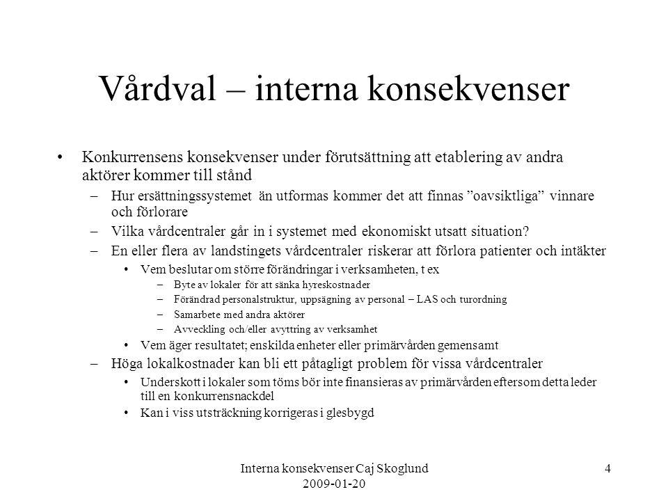 Interna konsekvenser Caj Skoglund 2009-01-20 5 Vårdval – interna konsekvenser Vilken handlingsfrihet skall verksamheten i egen regi ha.
