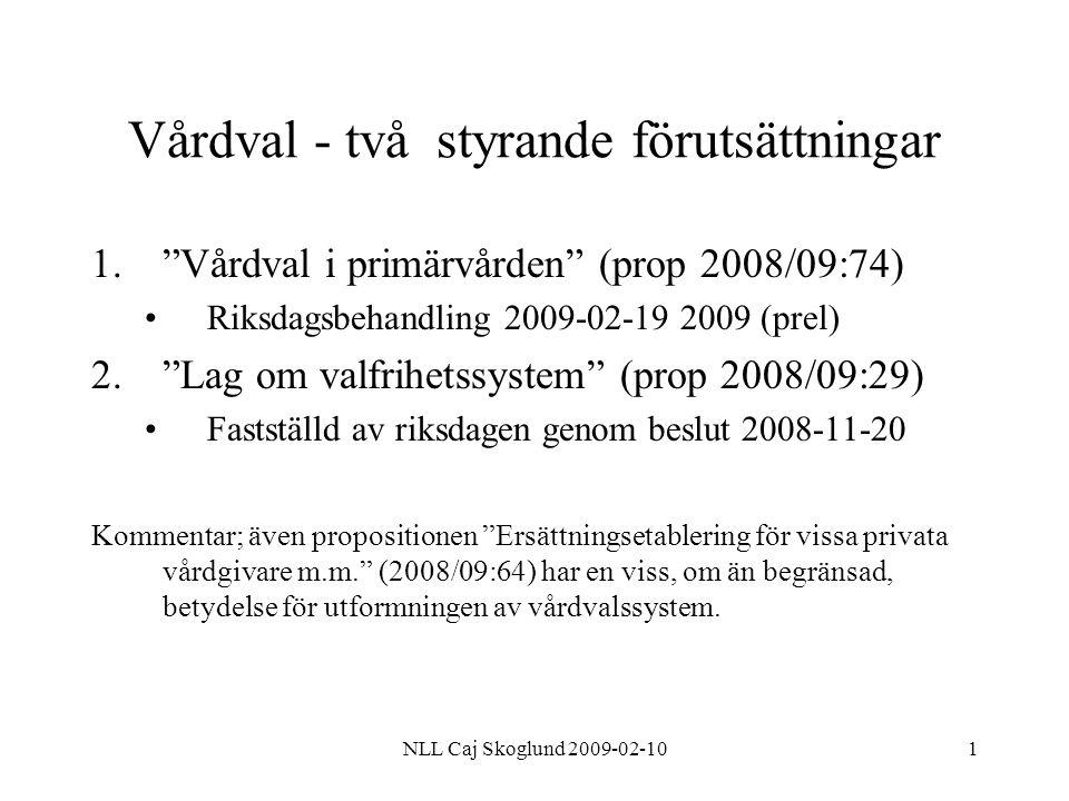 NLL Caj Skoglund 2009-02-1012 Lag om valfrihetssystem (LOV) Proposition 2008/09:29 Propositionen i korthet Alternativ till upphandling enligt LOU Alla leverantörer ska behandlas på ett likvärdigt och icke- diskriminerande sätt Förfrågningsunderlag med löpande annonsering tills vidare på nationell webbplats Ersättning framgår av förfrågningsunderlaget; ingen priskonkurrens, inga volymgarantier Kontrakt tecknas med varje leverantör som uppfyller samtliga krav Enskild som inte väljer leverantör skall tillhandahållas ickevalsalternativ Domstol kan besluta om rättelse respektive skadestånd