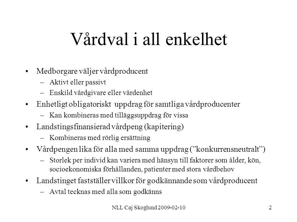NLL Caj Skoglund 2009-02-102 Vårdval i all enkelhet Medborgare väljer vårdproducent –Aktivt eller passivt –Enskild vårdgivare eller vårdenhet Enhetlig