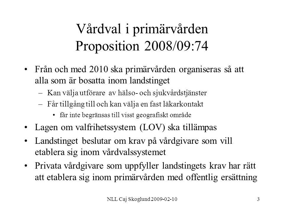 NLL Caj Skoglund 2009-02-104 Vårdval i primärvården Proposition 2008/09:74 Alla utförare ska behandlas lika om det inte finns skäl för annat Landstingets ersättning skall följa den enskildes val av utförare Kravet på att den fasta läkarkontakten ska vara specialist i allmänmedicin tas bort från och med april 2009 –Landstinget bestämmer vilka specialister som skall finnas inom vårdval –Styrande för privatpraktiserande läkare möjlighet att sälja etablering Konkurrensverket ska svara för uppföljning och utvärdering av vårdvalssystemets effekter på konkurrensen