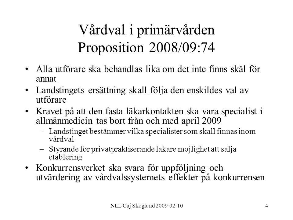 NLL Caj Skoglund 2009-02-1015 Lag om valfrihetssystem (LOV) Flera olika valfrihetssystem kan finnas inom landstinget –T ex val av husläkare, BVC, MVC, logopedverksamhet etc Förfrågningsunderlaget –Ska innehålla uppgift om ekonomisk ersättning, och landstingets handläggningstid av ansökan –Kan innehålla sociala, miljömässiga och andra kontraktsvillkor Upphandlande myndighet bör försäkra sig om möjligheten till omförhandling av avtalsvillkoren