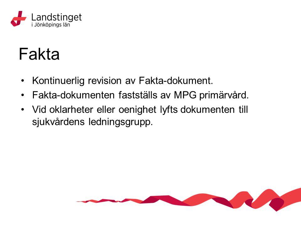 Fakta Kontinuerlig revision av Fakta-dokument. Fakta-dokumenten fastställs av MPG primärvård.