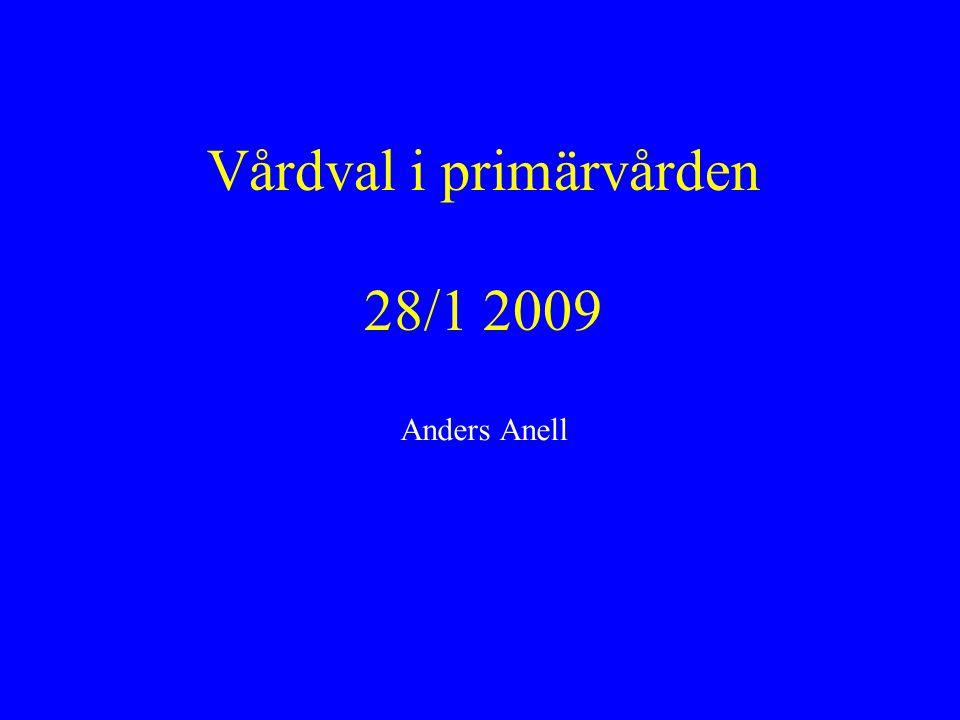 (Nya) vårdvalsmodeller i primärvården Redan infört -- Halland (1/1 2007), Västmanland och Stockholm (1/1 2008), Gotland (1/10 2008) Beslut om datum för införande – t ex Kronoberg (1/3 2009), Region Skåne (1/5 2009), Östergötland och Sörmland (1/9 2009), Västra Götalandsregionen (1/10 2009) Utredningar -- resterande landsting