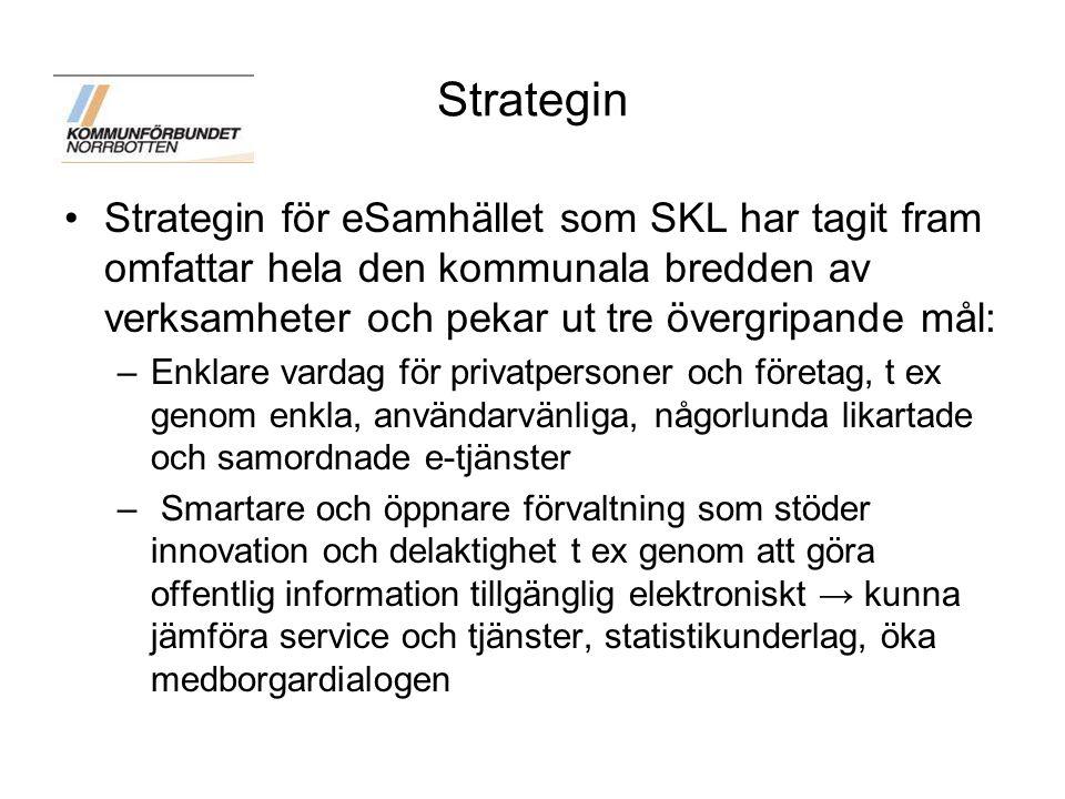 Strategin Strategin för eSamhället som SKL har tagit fram omfattar hela den kommunala bredden av verksamheter och pekar ut tre övergripande mål: –Enkl