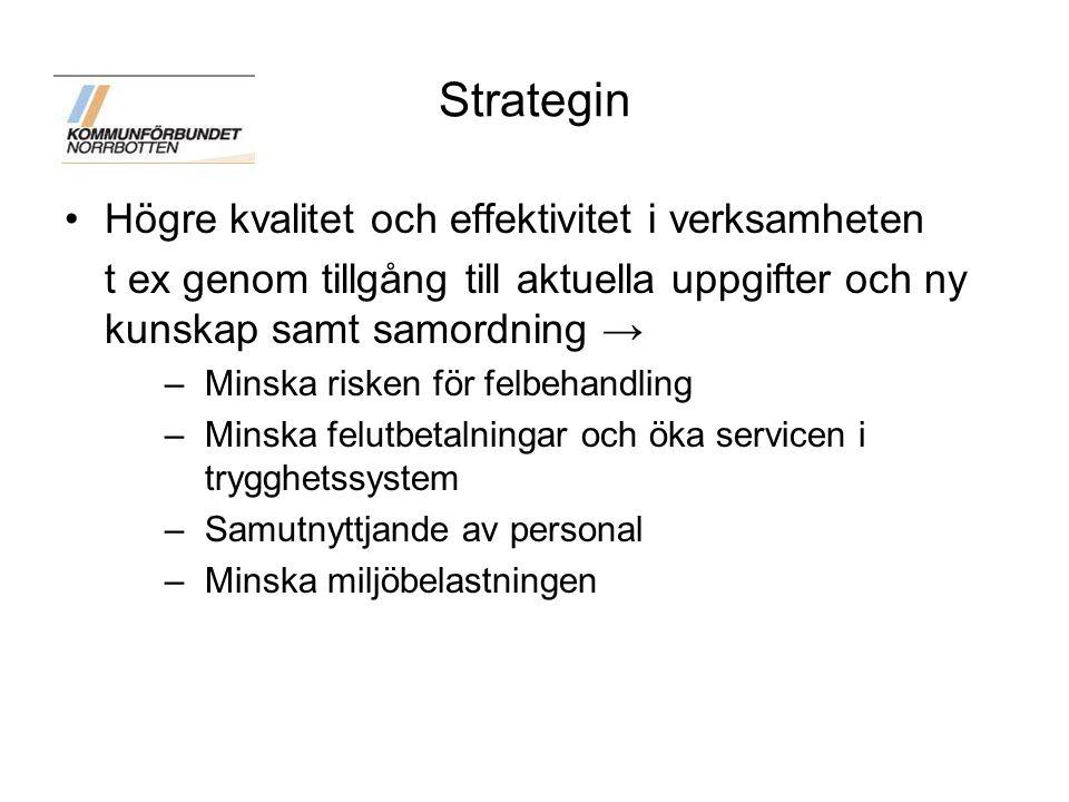 Strategin för eSamhället Kommunförbundets styrelse antog 2011-10-20 strategin för eSamhället och rekommenderade kommuner i Norrbottens län att föra diskussioner om lokalt arbete för att förverkliga intentionerna i strategin och att för sin del anta strategin Detta förpliktigar att man arbetar i strategins riktning