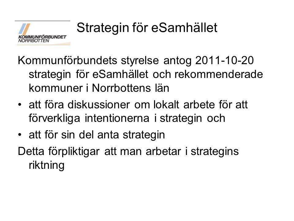 Samverkan kring strategin För att undersöka möjligheterna till samverkan/samordning i länet för att implementera strategin för eSamhället utsåg kommuncheferna och kommunalråden en arbetsgrupp bestående av 3 kommunalråd, 3 kommunchefer, en IT-chef och två tjänsteman från Kommunförbundet Arbetsgruppen har gjort studiebesök i Stockholm och Karlstad för att ta del av deras arbete och erfarenheter ang samverkan kring dessa frågor
