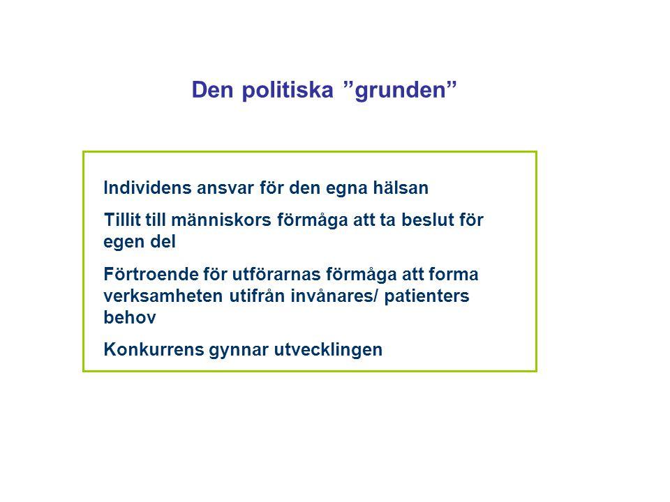 """Den politiska """"grunden"""" Individens ansvar för den egna hälsan Tillit till människors förmåga att ta beslut för egen del Förtroende för utförarnas förm"""