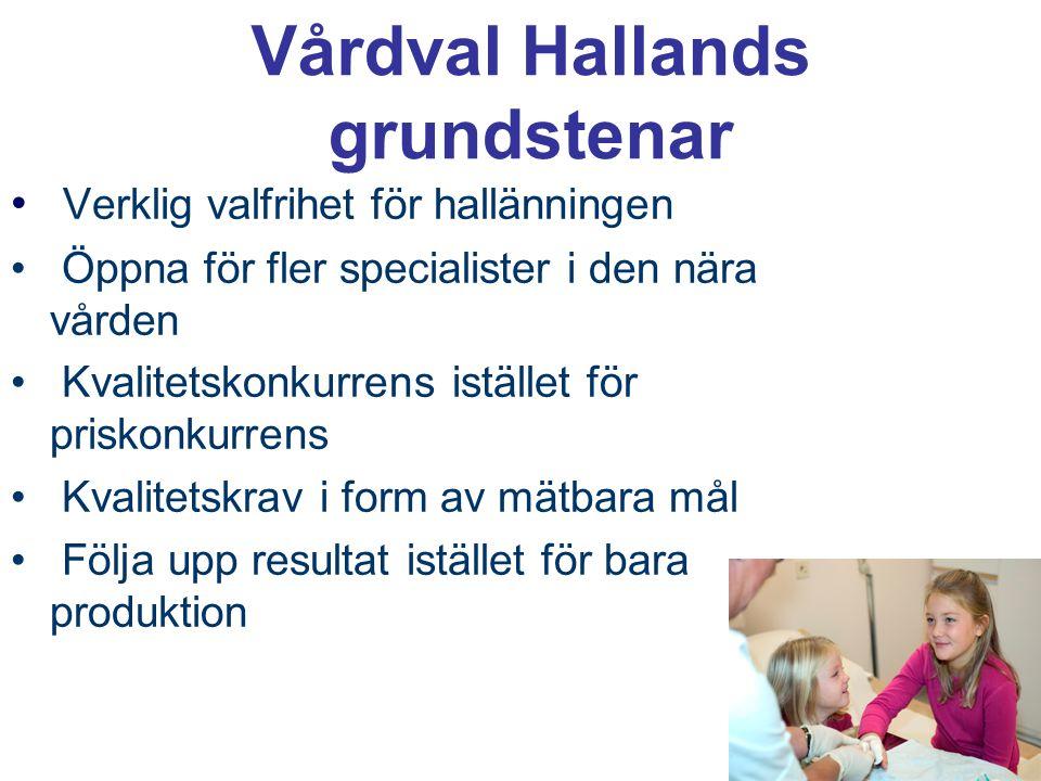 Vårdval Hallands grundstenar Verklig valfrihet för hallänningen Öppna för fler specialister i den nära vården Kvalitetskonkurrens istället för priskon