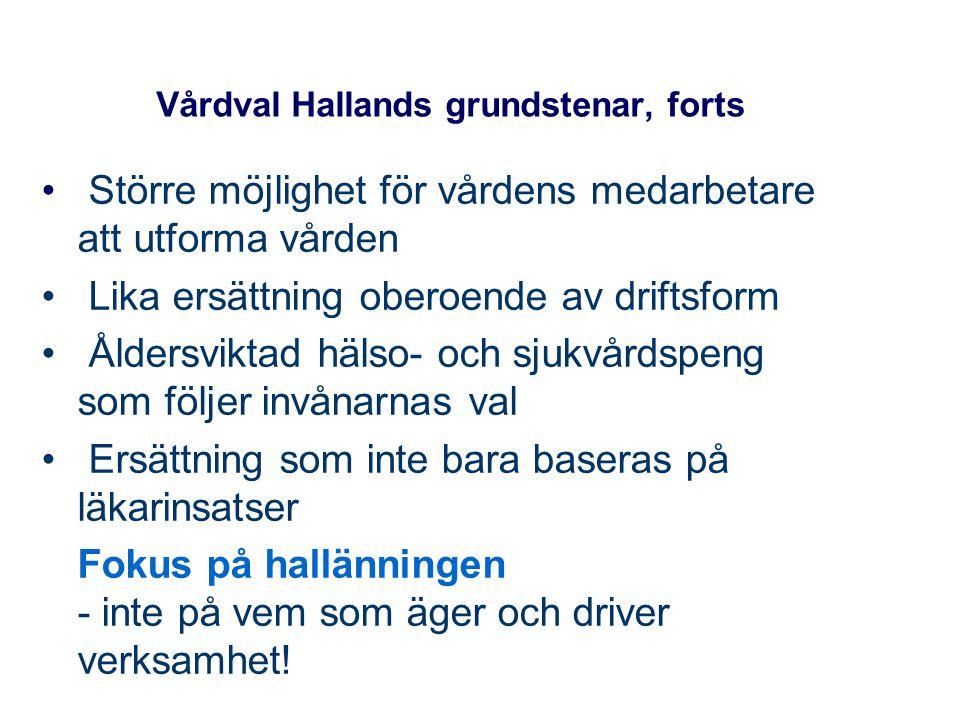 Vårdval Hallands grundstenar, forts Större möjlighet för vårdens medarbetare att utforma vården Lika ersättning oberoende av driftsform Åldersviktad h