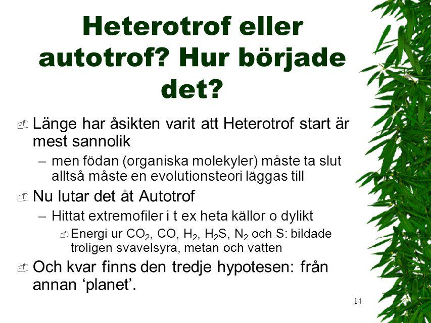 14 Heterotrof eller autotrof? Hur började det?  Länge har åsikten varit att Heterotrof start är mest sannolik –men födan (organiska molekyler) måste